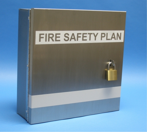 Fire Safety Plan Box Stainless Steel  Community Fire Prevention Ltd